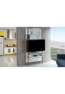Painel De Tv Para Quarto Branco Com Freijó - Painel De Parede Tv Até 42 Polegadas Karl Woodinn - 99,8X25,5X180 Cm