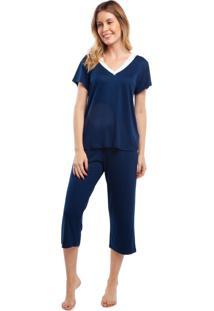 Pijama Capri Azul Marinho Com Cetim Azul - Kanui