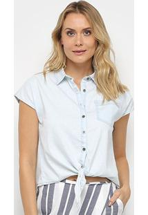 Camiseta Jeans Malwee Tradicional Amarração Feminina - Feminino-Azul