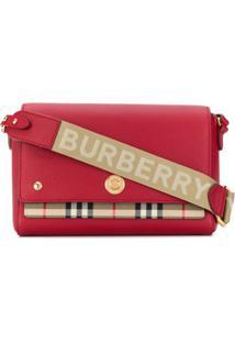 Burberry Bolsa De Couro Xadrez Vintage Com Logo Na Alça - Vermelho