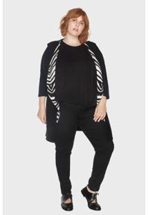 Colete Longo Jacar Plus Size Kalanchoê Tricotaria Feminino - Feminino-Off White