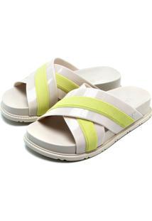 Tamanco Flatform Zaxy Stripes Off-White/Verde