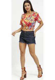 Blusa Cropped Com Elã¡Stico- Laranja & Vermelha- Cocacoca-Cola