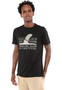 Camiseta Quiksilver Slim Fit Wave Preta