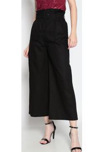 Calça Pantalona Em Linho- Preta- Le Fixle Fix