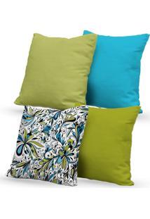 Kit 4 Capas Almofadas Decorativas Own Arabescos Verde E Azul 45X45 - Somente Capa