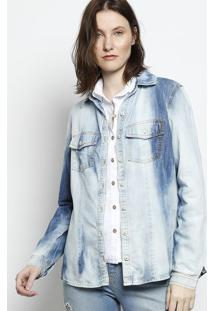 Camisa Jeans Com Bolsos - Azulscalon