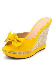 Sandália Anabela Tamanco Salto Alto Confort Amarelo