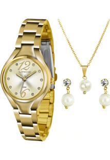 Kit Relógio Feminino Strass Lince Lrgj057L K266C2Kx