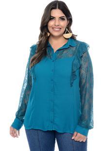Camisa Art Final Plus Size Azul Petróleo Patricia Azul