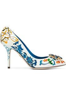 Dolce & Gabbana Scarpin 'Bellucci' Com Estampa Majolica - Branco