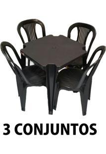 Conjunto Mesa E 4 Cadeiras Bistro Plástico Preto 3 Conjuntos