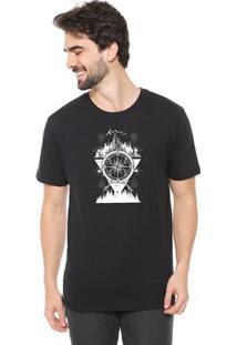Camiseta De Algodão Masculina Eco Canyon Bússola Preta