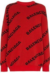 Balenciaga Suéter Com Logo - Vermelho