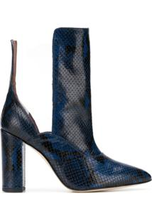 Paris Texas Contrast Pointed Boots - Azul
