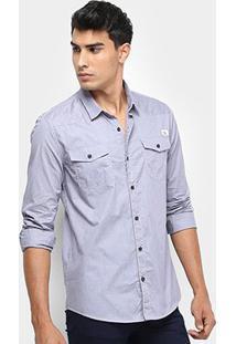 Camisa Calvin Klein Manga Longa Bolsos Etiqueta Masculina - Masculino