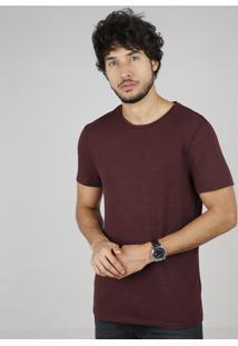 Camiseta Masculina Slim Fit Manga Curta Gola Careca Vinho