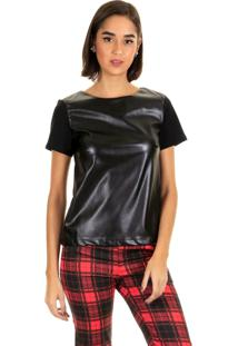 Blusa Manga Curta Cirre Leather Preto