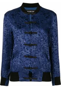 Lisa Von Tang Jaqueta Bomber De Jacquard Com Estampa Floral - Azul