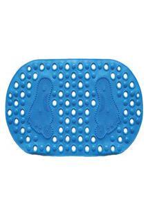 Tapete Banheiro Banho Box Antiderrapante Ventosas Pé 33X66 Azul