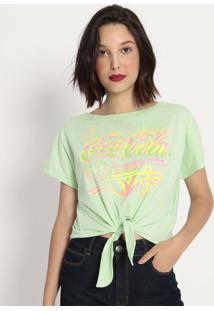 "Camiseta ""Coca-Cola Jeans®""- Verde Água & Rosa- Cocacoca-Cola"