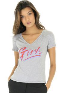 Camiseta Mescla Decote V Silk Girls - Kanui