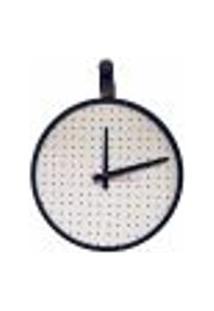 Relógio Short Strip Preto Alça Preta Mostrador Branco Perfurado 40 Cm