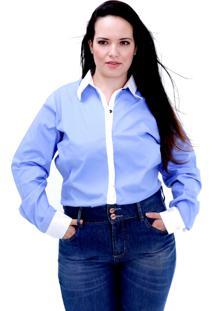 Camisa Duas Cores Ml Plus Size