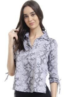 Camisa101 Resort Wear Polo Tricoline Animal Print Preto