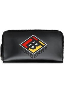 Burberry Carteira De Canvas Com Logo Gráfico E Zíper - Preto