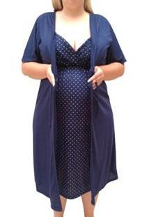 Conjunto Plus Size Linda Gestante Camisola De Alcinha Com Robe Maternidade - Feminino