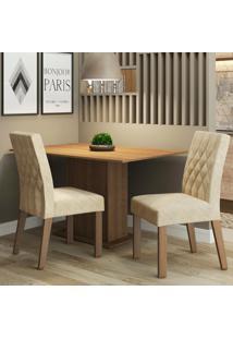 Conjunto Sala De Jantar Madesa Lia Mesa Tampo De Madeira Com 2 Cadeiras Marrom - Tricae
