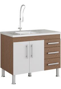 Gabinete Para Cozinha Flex 80X94Cm Amêndoa E Branco