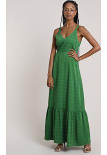 Vestido Feminino Mindset Longo Estampado Quadriculado Com Babado Alça Média Verde