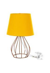 Abajur Cebola Dome Amarelo Com Aramado Cobre
