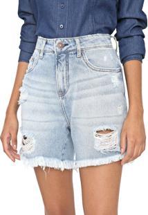 Bermuda Jeans Calvin Klein Jeans Reta Destroyed Azul - Kanui