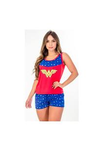 Pijama Baby Doll Mulher Maravilha Recorte Regata Malha Pp Personagem Adulto Alça Fina Barato