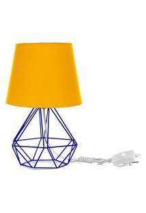 Abajur Diamante Dome Amarelo Com Aramado Azul