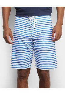 Bermuda Colcci Listrada Amarração Masculina - Masculino-Branco+Azul
