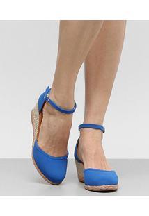Sandália Espadrille Anabela Drezzup Corda Feminina - Feminino-Azul