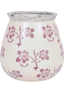 Vaso Ceramica Redondo C/ Flores Violeta Med