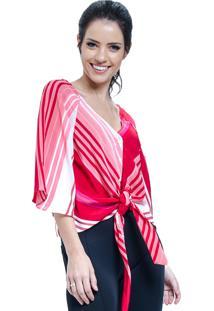 Blusa 101 Resort Wear Cetim Listrada Vermelha De Amarrar Com Laço E Botoes