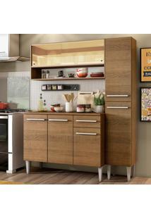 Cozinha Compacta Madesa Emilly Art Com Balcão E Armário Vidro Reflex Marrom
