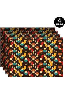 Jogo Americano Mdecore Abstrato 40X28Cm Marrom 4Pçs