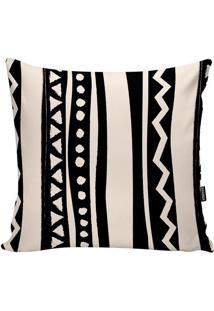Capa Para Almofada African- Off White & Preta- 45X45Stm Home