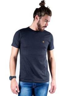 Camiseta Mister Fish Gola Careca Basic Masculina - Masculino-Preto