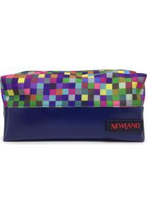 Necessaire Amber Pequena Newland Azul Marinho E Quadriculado Color