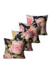 Kit Com 4 Capas Para Almofadas Premium Peluciada Mdecore Floral Azul 45X45Cm