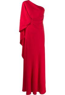 Alberta Ferretti Vestido De Festa Assimétrico - Vermelho
