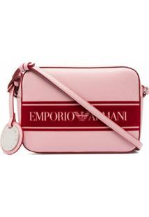 Emporio Armani Bolsa Transversal Com Zíper E Estampa De Logo - Rosa